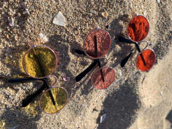 Pet Glasses Red Rose And Yellow On Sand