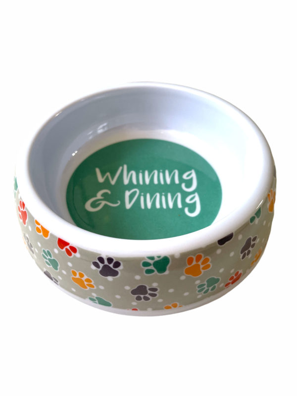 Studio74Pet 16 Oz Pet Bowl White & Green Colorful Paws Whining & Dining Side View