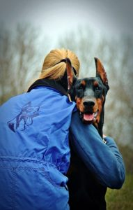 happy Doberman being hugged by a woman