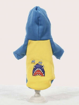 Angry Shark & Divers Pet Hoodie Back