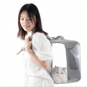 Petseek Clear Minimal Backpack Grey Modeled With A Person And A Cat