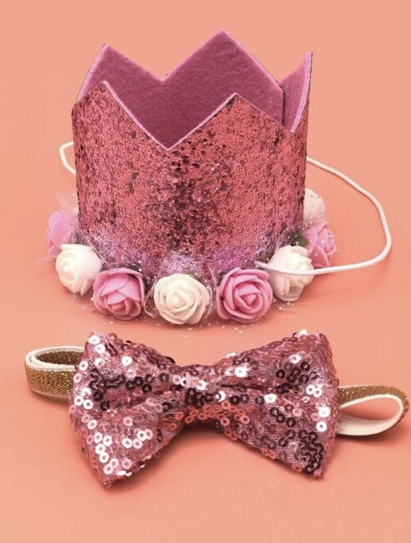 Sequin Decor Birthday Hat & Bow Tie Combo
