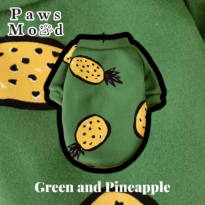 Arty Silly Shirt Pet Tee Green & Pineapple Green Background