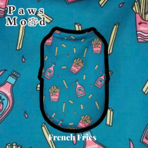 Arty Silly Shirt Pet Tee Turquoise Happy Eyes French Fries Turquoise Background
