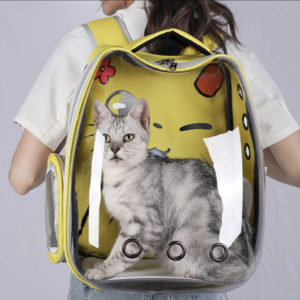Comfy Cat Backpack Yellow Worn On Shoulders With Cat Inside
