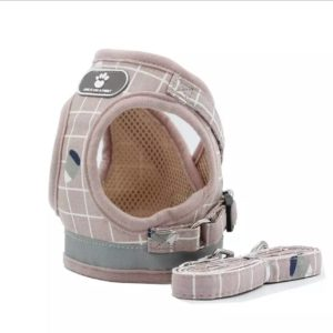 Love It Like A Family Pet Harness Pink Cream & White Stripes